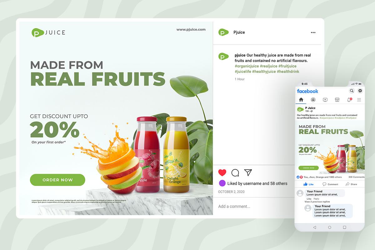 fruit juice social media post template